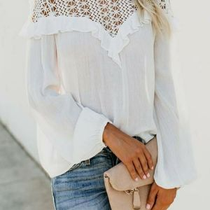 Amaryllis White Patchwork Lace Long Sleeve Top NEW